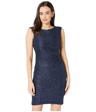 Vince Camuto Sequin Lace Cap Sleeve Bodycon Dress with Side Tucks