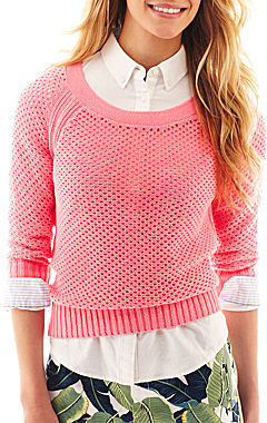 JCPenney jcp 3/4-Sleeve Crewneck Sweater