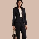 Burberry Back Peplum Wool Blend Tuxedo Jacket