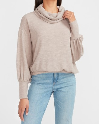 Express Ribbed Cowl Neck Banded Bottom Tee
