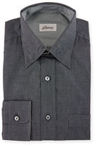 Brioni Button-Front Solid Dress Shirt, Black/Gray Solid