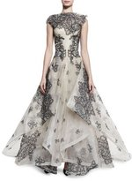 Zac Posen Sleeveless Lace Ball Gown, Nude/Black