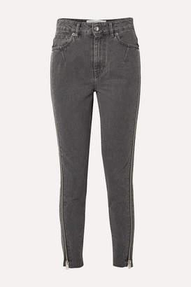 IRO Essey Zip-embellished Frayed High-rise Skinny Jeans - Dark gray