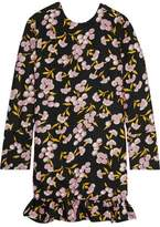 Marni Ruffled Floral-Print Cotton And Silk-Blend Mini Dress