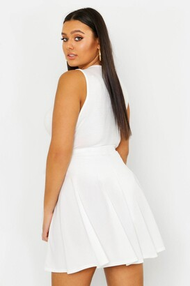 boohoo Plus Button Front Ribbed Skater Mini Skirt
