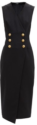 Balmain Tailored Buttoned Wrap Dress - Black
