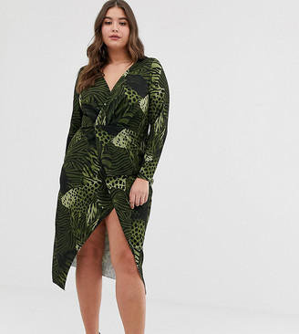 Asos DESIGN Curve long sleeve textured wrap midi dress in animal