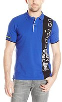 U.S. Polo Assn. Men's Vertical Text Pique Polo Shirt
