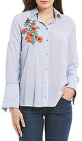 Democracy High Cuff Long Sleeve Pinstripe Print Floral Embroidered Shirt