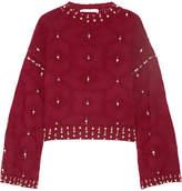 Jonathan Simkhai Matador Embellished Wool Sweater - Burgundy