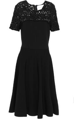 Carolina Herrera Flared Crochet-paneled Stretch-ponte Dress
