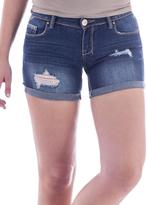 Amethyst Jeans Dark Blue Denim Embellished-Pocket Fiona Shorts - Plus
