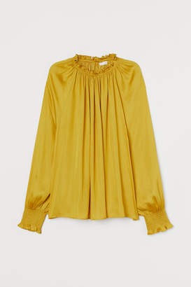 H&M Ruffle-collar Wide-cut Blouse - Yellow