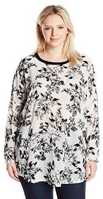 Junarose Women's Plus Size Hisla Printed Long Sleeve Loose Tunic Top