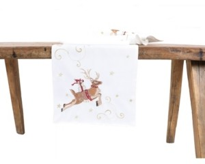 Manor Luxe Reindeer with Gifts Embroidered Christmas Table Runner