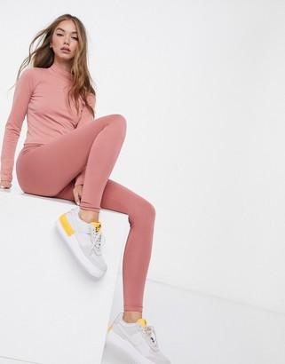 ASOS DESIGN mix & match co-ord leggings with deep waistband in rose