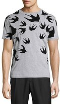 McQ by Alexander McQueen Bird-Print Melange Short-Sleeve T-Shirt