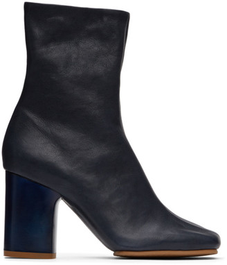 Acne Studios Navy Chunky Heel Boots