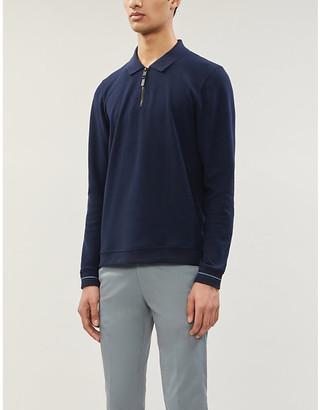 Ted Baker Zip collar woven polo shirt