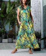 Reborn Collection Women's Maxi Dresses Yellow - Yellow & Green Floral Ruffle Cap-Sleeve Maxi Dress - Women