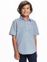 Old Navy Indigo-Dobby Stripe Popover Shirt for Boys