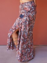 West Coast Wardrobe Frolic in the Fields Floral Maxi Skirt in Blue
