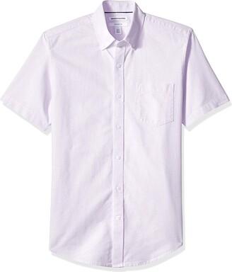 Amazon Essentials Slim-Fit Short-Sleeve Stripe Pocket Oxford Shirt Button