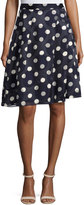 Pink Tartan Pleated-Chiffon Polka Dot Skirt, Blue/White