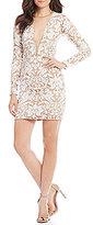 Dress the Population Claudia Deep V-Neck Sequin Lace Sheath Dress