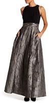 Carmen Marc Valvo Sleeveless Embellished Waist Gown