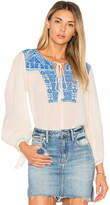 Star Mela Vero Embroidered Top in Ivory. - size L (also in M,S)