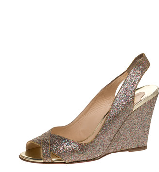Christian Louboutin Gold Glitters Peep Toe Marpoil Sanzep Wedge Sandals Size 37