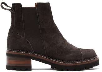 See by Chloe Scallop-edged Suede Chelsea Boots - Womens - Black