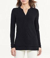 Lauren Ralph Lauren Layered Split V-Neck Long Sleeve Jersey Top