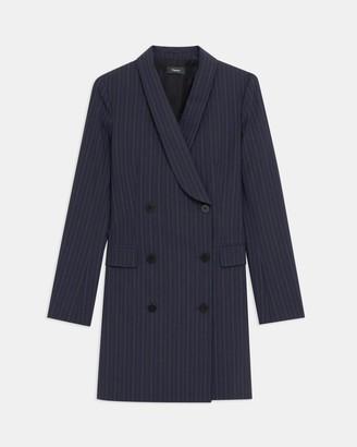 Theory Shawl Blazer Dress in Striped Good Wool
