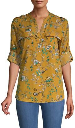 Calvin Klein Floral Roll-Tab Long Sleeve Shirt