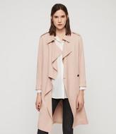 AllSaints Women's Lightweight Bexley Trench Coat, Pink, Size: S
