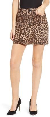 Good American Leopard Print Raw Edge Mini Skirt (Regular & Plus Size)