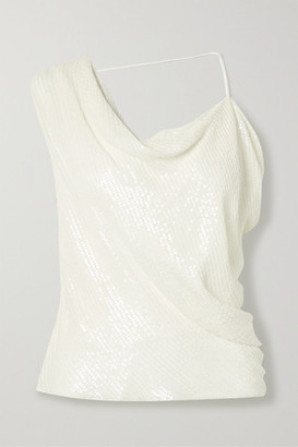 Cushnie Asymmetric Draped Sequined Silk-chiffon Top - White