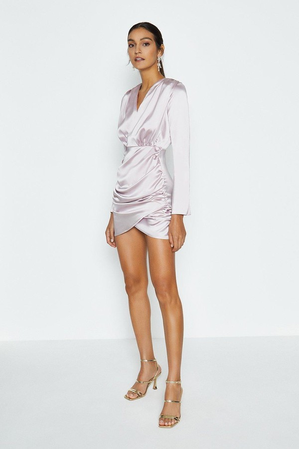Coast Long Sleeve Wrap Front Tux Dress