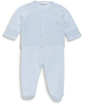 Kissy Kissy Baby Boy's Cotton Two-Piece Tender Touches Knit Cardigan and Pants Set