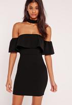 Missguided Choker Neck Bardot Frill Dress Black