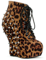 Bettie Page Tan Leopard Belladonna Bootie
