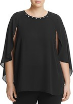 VINCE CAMUTO Plus Embellished Neck Cape Blouse