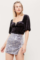 Motel Animal Print Sequin Mini Skirt