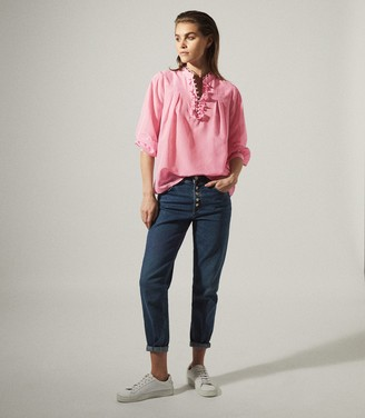 Reiss ASHLYN RUFFLE DETAIL SILK BLEND SHIRT Pink