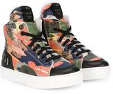 John Galliano printed hi-top sneakers - kids - Calf Leather/Leather/Acrylic/rubber - 28