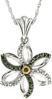 Green & Black 1/6 Carat Green, Black, And White Diamond Sterling Silver, Black Rhodium And Yellow Gold Plated Pendant With Chain