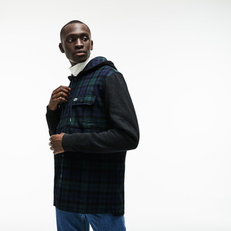 Lacoste Men's Regular Fit Hooded Check Cotton Flannel Shirt