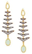 Azaara Florentine Chalcedony & Pavé Crystal Fishtail Drop Earrings